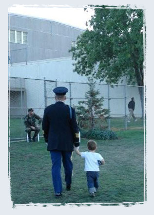 Photo of soldier with son